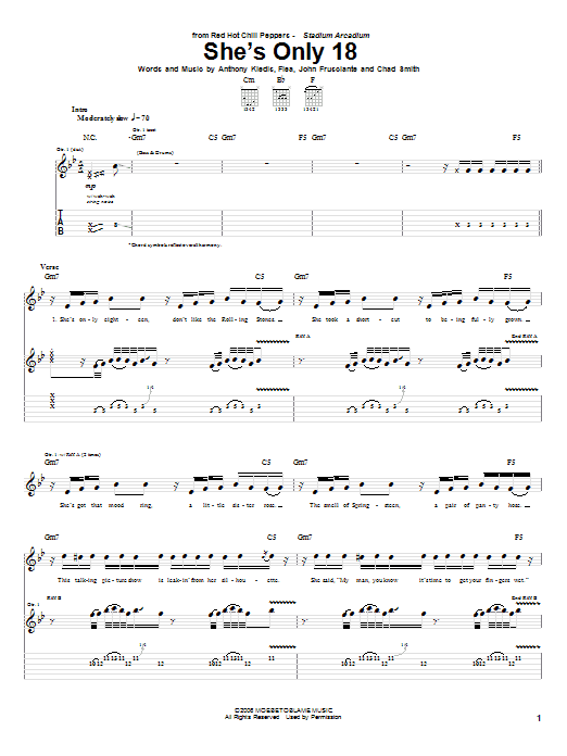 Red Hot Chili Peppers She's Only 18 sheet music notes and chords. Download Printable PDF.