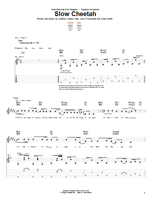Red Hot Chili Peppers Slow Cheetah sheet music notes and chords. Download Printable PDF.
