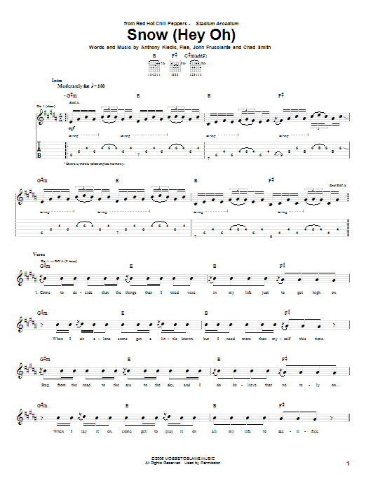 Red Hot Chili Peppers Snow (Hey Oh) sheet music notes and chords