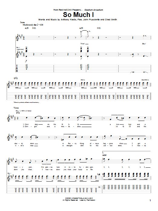 Red Hot Chili Peppers So Much I sheet music notes and chords. Download Printable PDF.