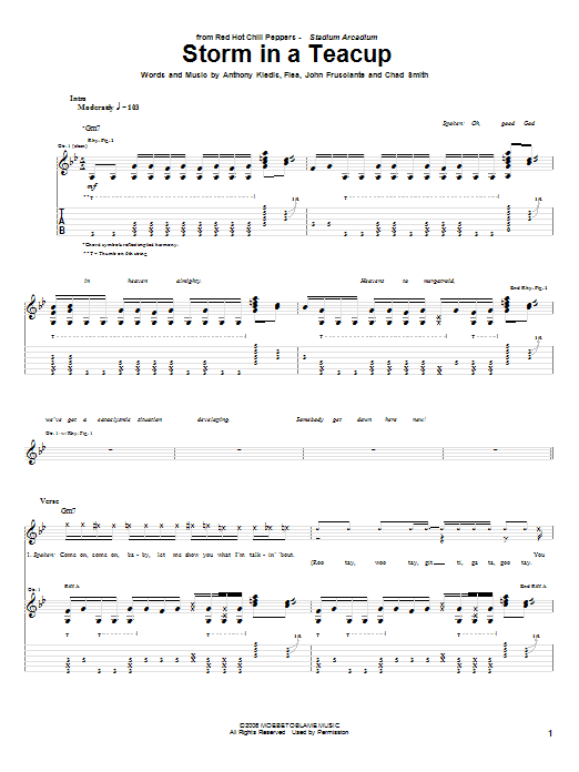 Red Hot Chili Peppers Storm In A Teacup sheet music notes and chords. Download Printable PDF.
