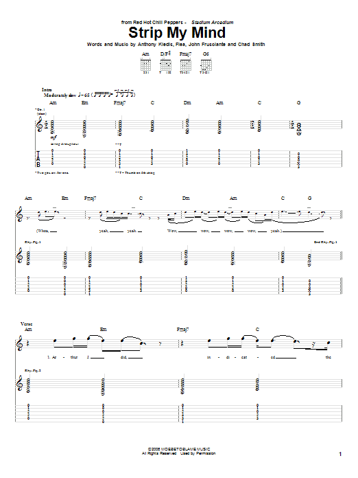 Red Hot Chili Peppers Strip My Mind sheet music notes and chords. Download Printable PDF.