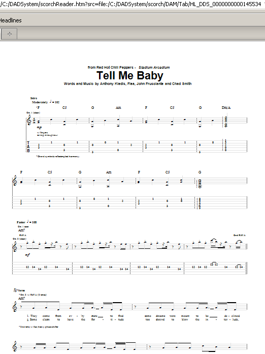 Red Hot Chili Peppers Tell Me Baby sheet music notes and chords. Download Printable PDF.
