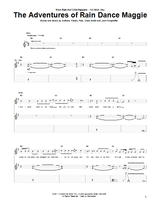 Red Hot Chili Peppers The Adventures Of Rain Dance Maggie sheet music notes and chords. Download Printable PDF.