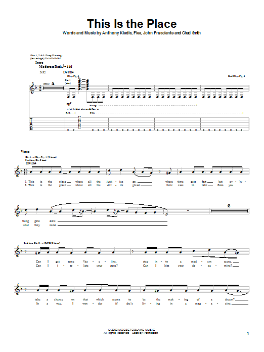 Red Hot Chili Peppers This Is The Place sheet music notes and chords. Download Printable PDF.