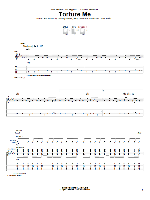 Red Hot Chili Peppers Torture Me sheet music notes and chords. Download Printable PDF.