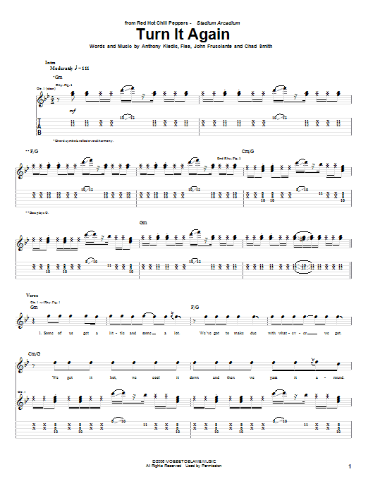 Red Hot Chili Peppers Turn It Again sheet music notes and chords. Download Printable PDF.