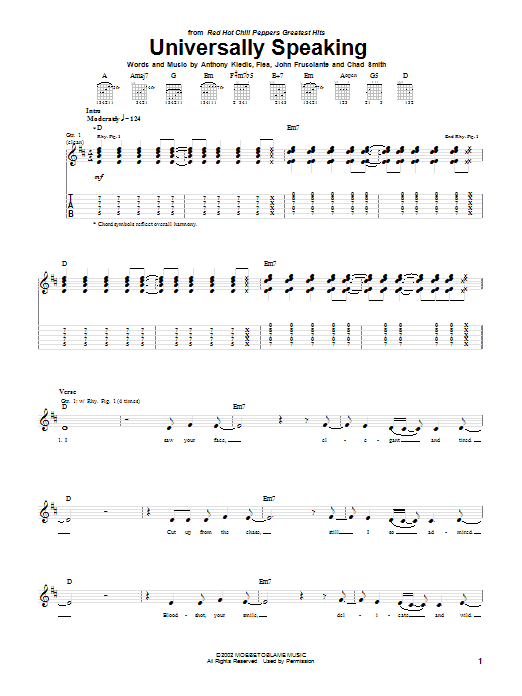 Red Hot Chili Peppers Universally Speaking sheet music notes and chords. Download Printable PDF.