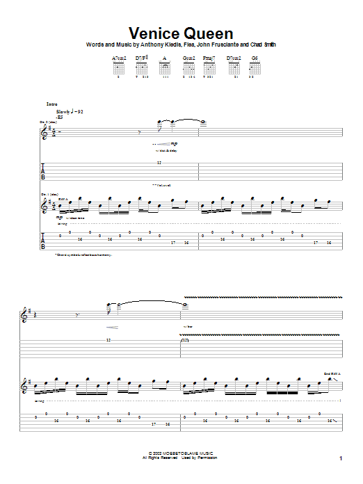 Red Hot Chili Peppers Venice Queen sheet music notes and chords. Download Printable PDF.