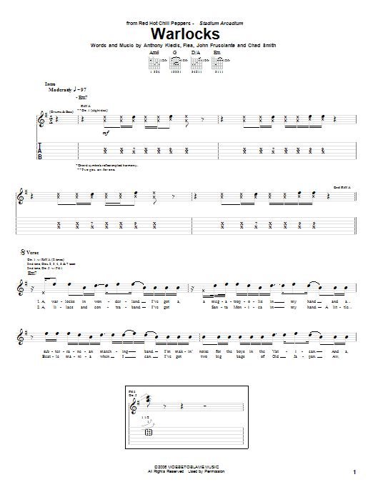 Red Hot Chili Peppers Warlocks sheet music notes and chords. Download Printable PDF.