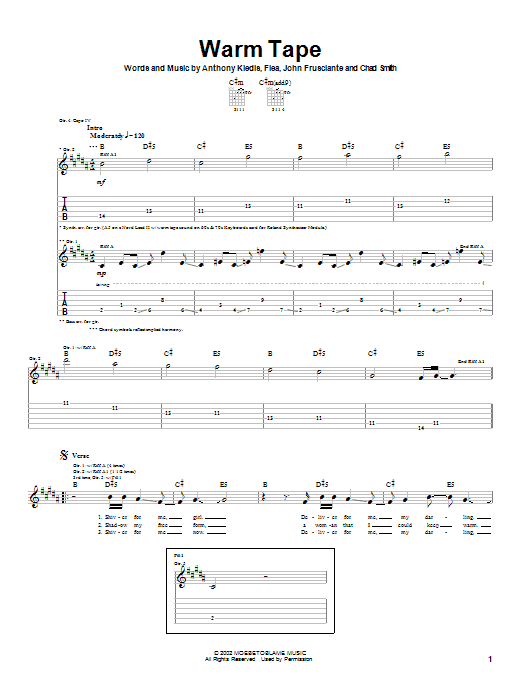 Red Hot Chili Peppers Warm Tape sheet music notes and chords. Download Printable PDF.