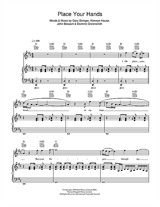 Reef Place Your Hands sheet music notes and chords. Download Printable PDF.