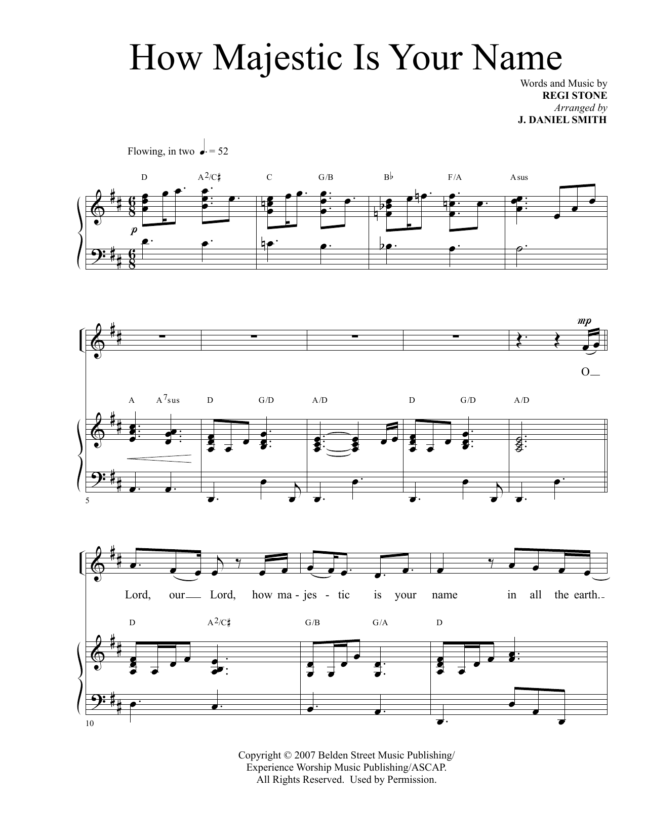 Regi Stone How Majestic Is Your Name (arr. J. Daniel Smith) sheet music notes and chords. Download Printable PDF.