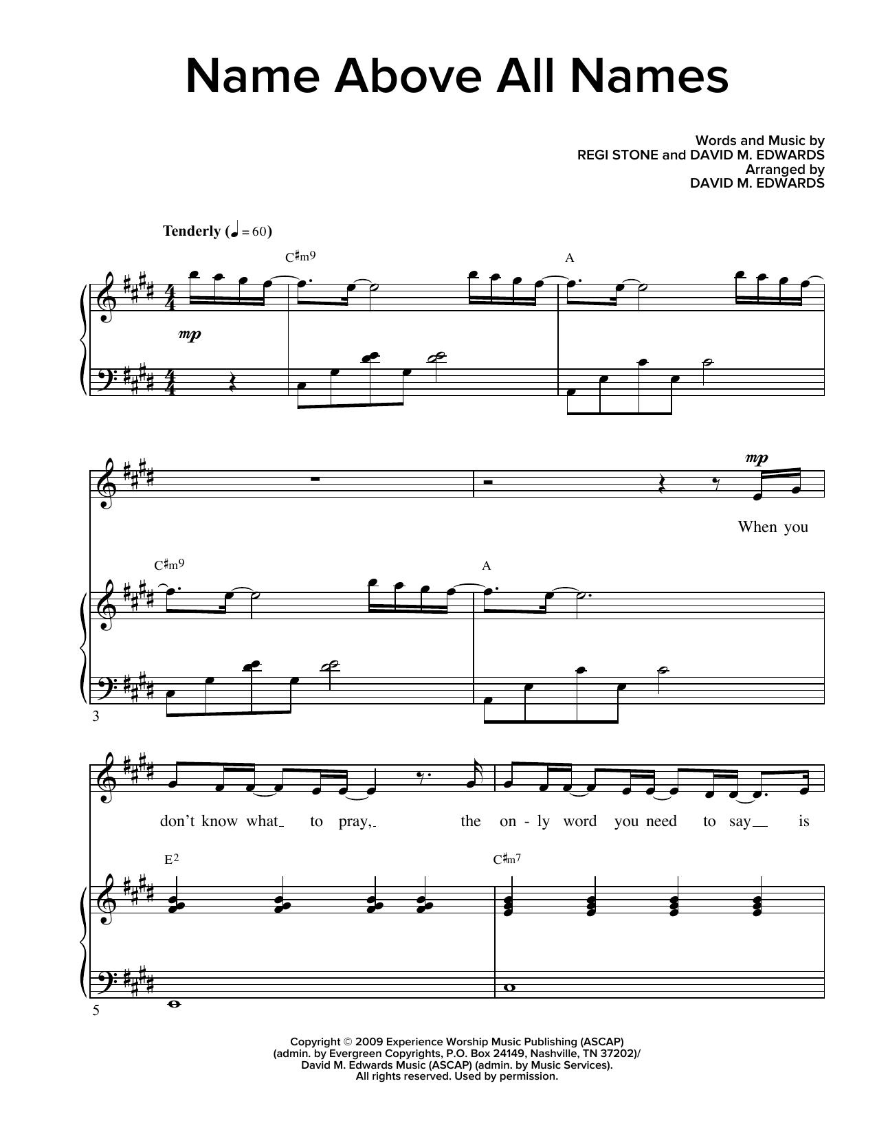 Regi Stone and David M. Edwards Name Above All Names (arr. David M. Edwards) sheet music notes and chords. Download Printable PDF.