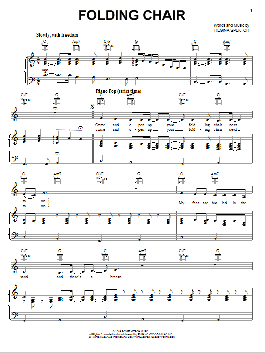 Regina Spektor Folding Chair sheet music notes and chords. Download Printable PDF.