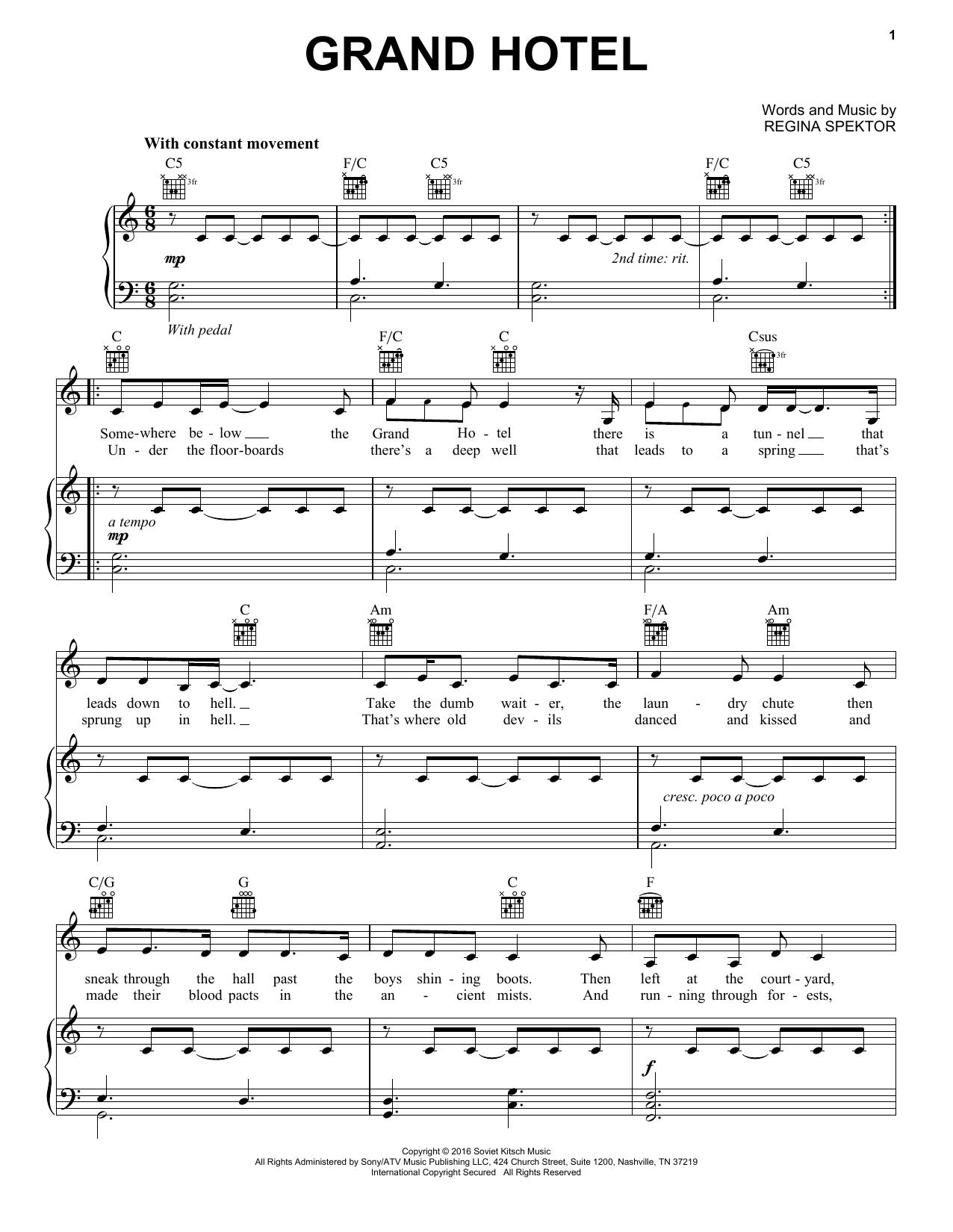 Regina Spektor Grand Hotel Sheet Music Pdf Notes Chords Alternative Score Piano Vocal Guitar Right Hand Melody Download Printable Sku 421008