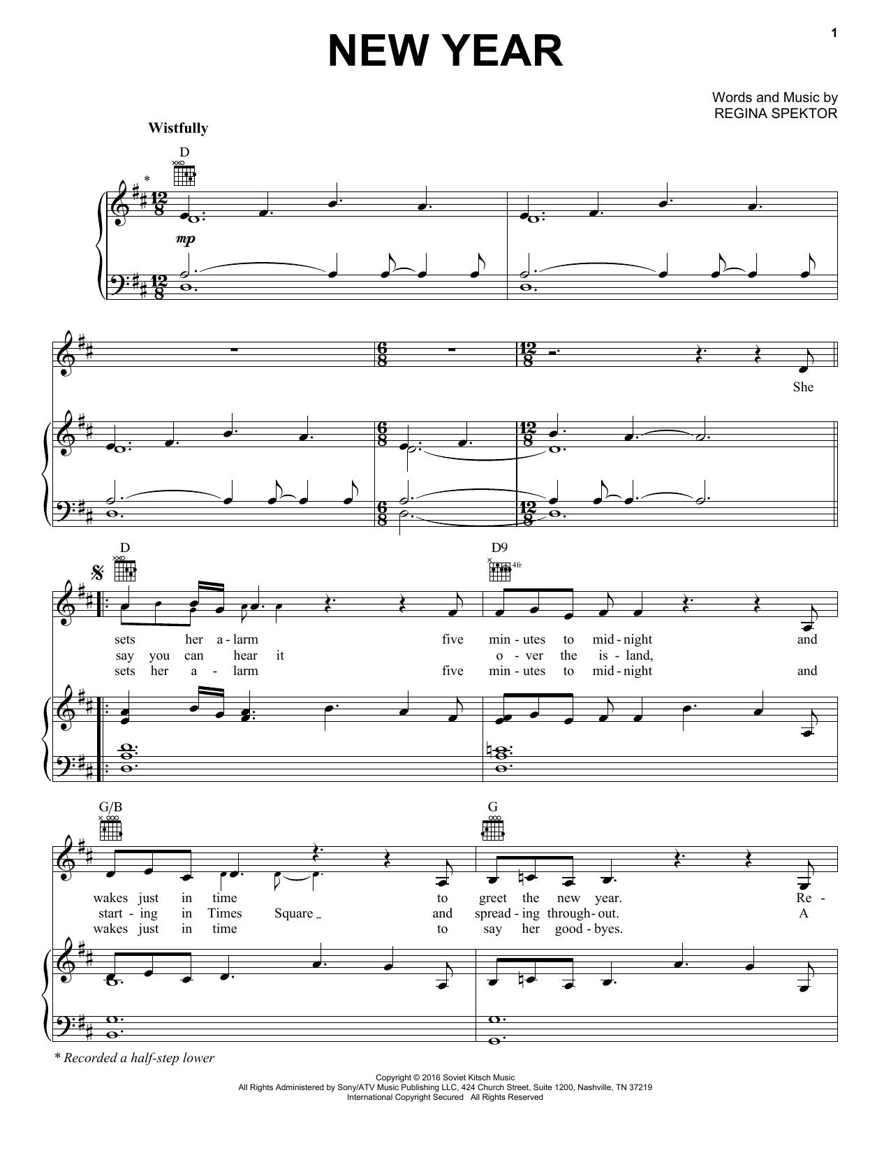 Regina Spektor New Year sheet music notes and chords