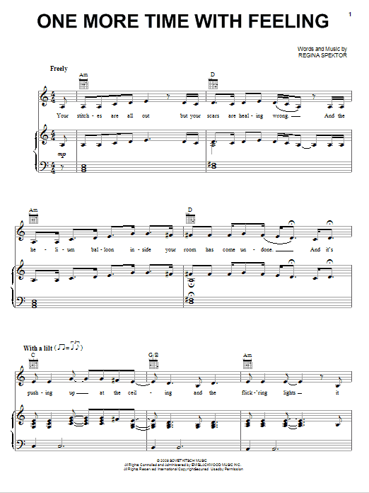 Regina Spektor One More Time With Feeling sheet music notes and chords. Download Printable PDF.