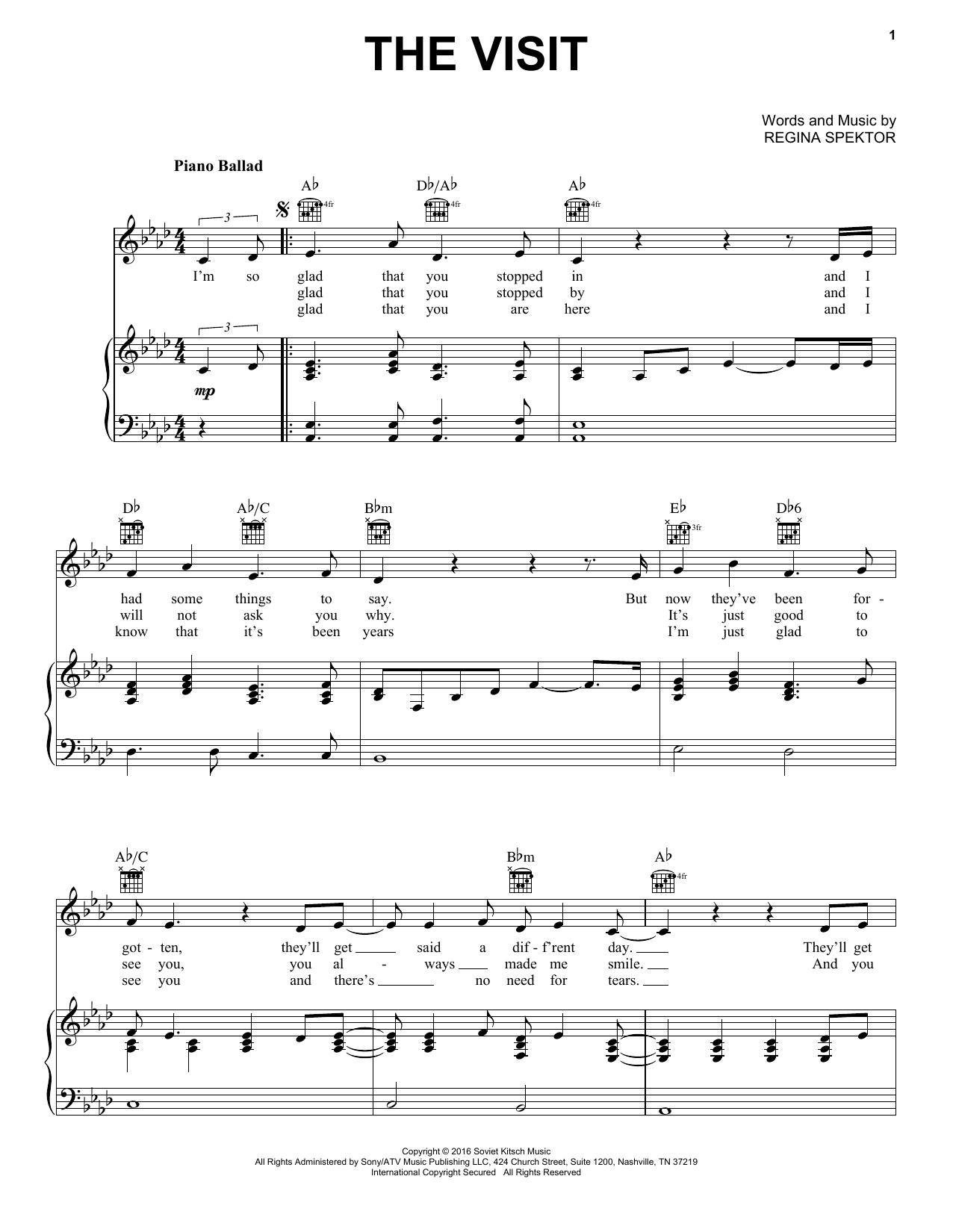 Regina Spektor The Visit sheet music notes and chords. Download Printable PDF.
