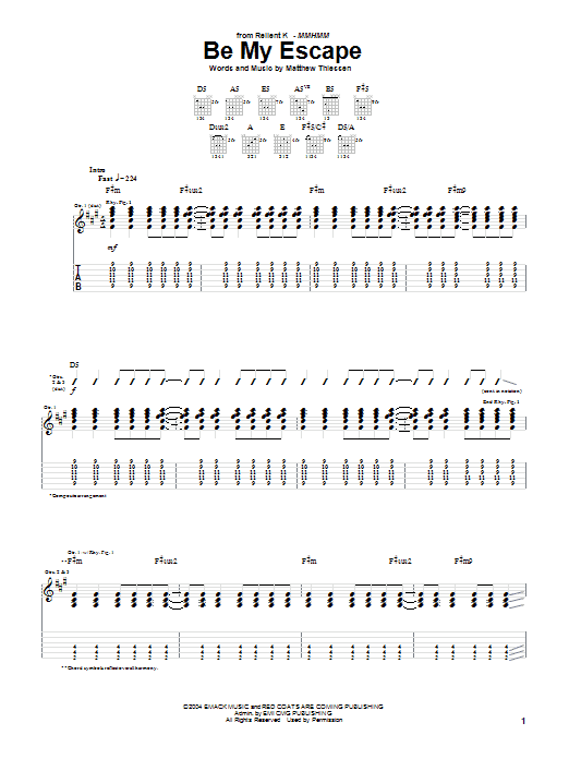 Relient K Be My Escape sheet music notes and chords