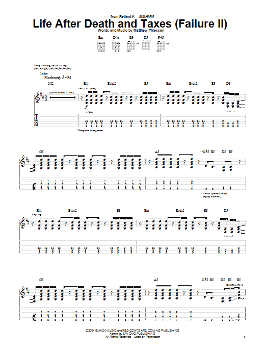 Relient K Life After Death And Taxes (Failure II) sheet music notes and chords. Download Printable PDF.