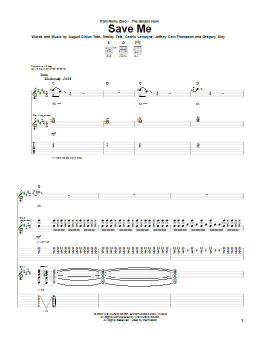 Remy Zero Save Me sheet music notes and chords. Download Printable PDF.