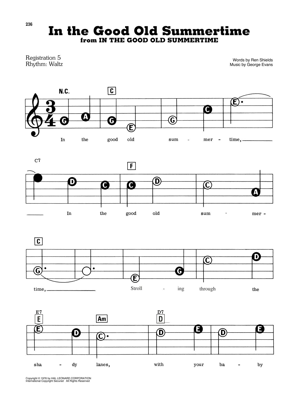 Ren Shields In The Good Old Summertime sheet music notes and chords. Download Printable PDF.