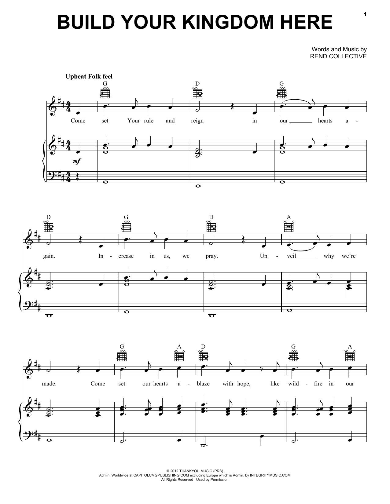 Rend Collective Build Your Kingdom Here sheet music notes and chords