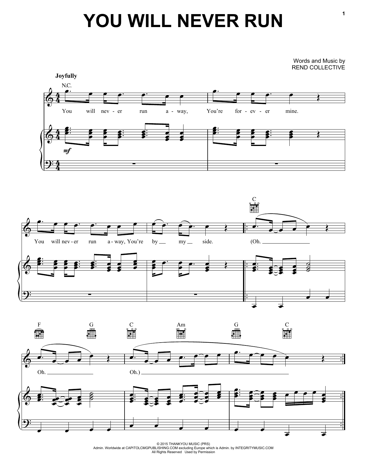 Rend Collective You Will Never Run Sheet Music Notes, Chords   Download  Printable Piano, Vocal & Guitar Right Hand Melody PDF Score   SKU 15