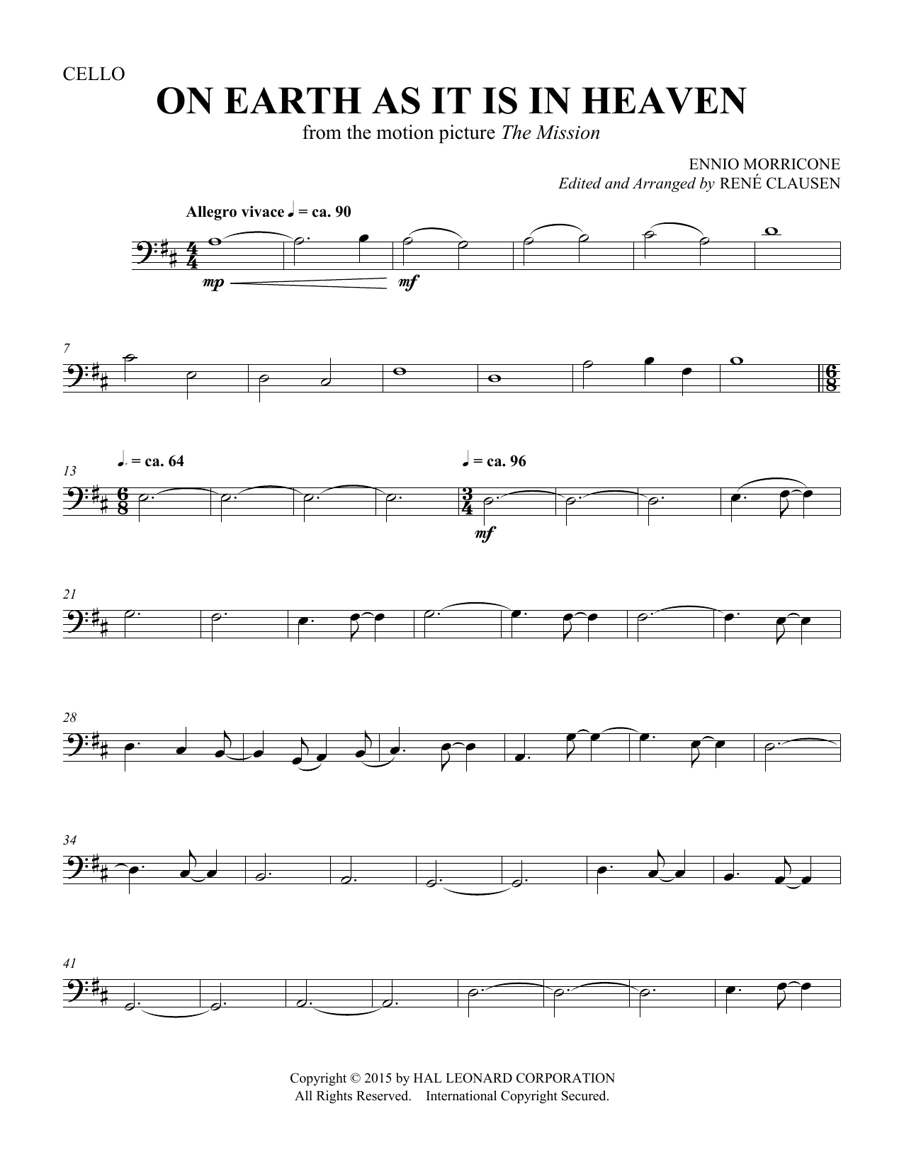 Rene Clausen On Earth As It Is In Heaven - Cello sheet music notes and chords. Download Printable PDF.