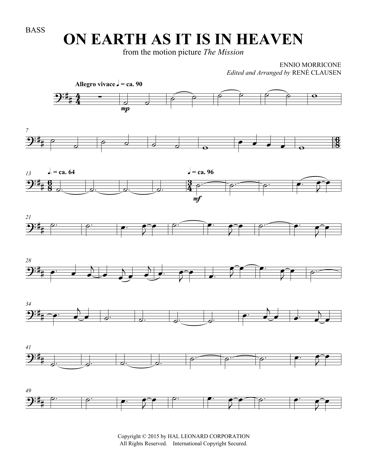 Rene Clausen On Earth As It Is In Heaven - Double Bass sheet music notes and chords. Download Printable PDF.