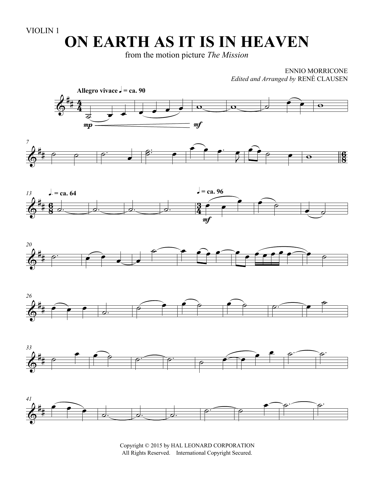 Rene Clausen On Earth As It Is In Heaven - Violin 1 sheet music notes and chords. Download Printable PDF.