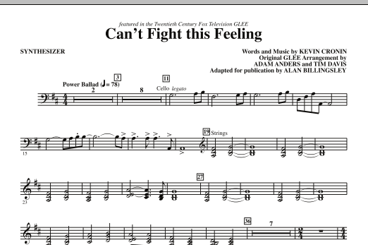 REO Speedwagon Can't Fight This Feeling (from Glee) (adapt. Alan Billingsley) - Synthesizer sheet music notes and chords. Download Printable PDF.
