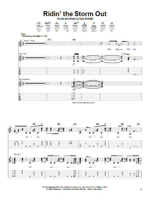 REO Speedwagon Ridin' The Storm Out sheet music notes and chords. Download Printable PDF.