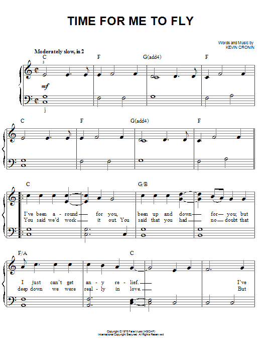REO Speedwagon Time For Me To Fly sheet music notes and chords. Download Printable PDF.