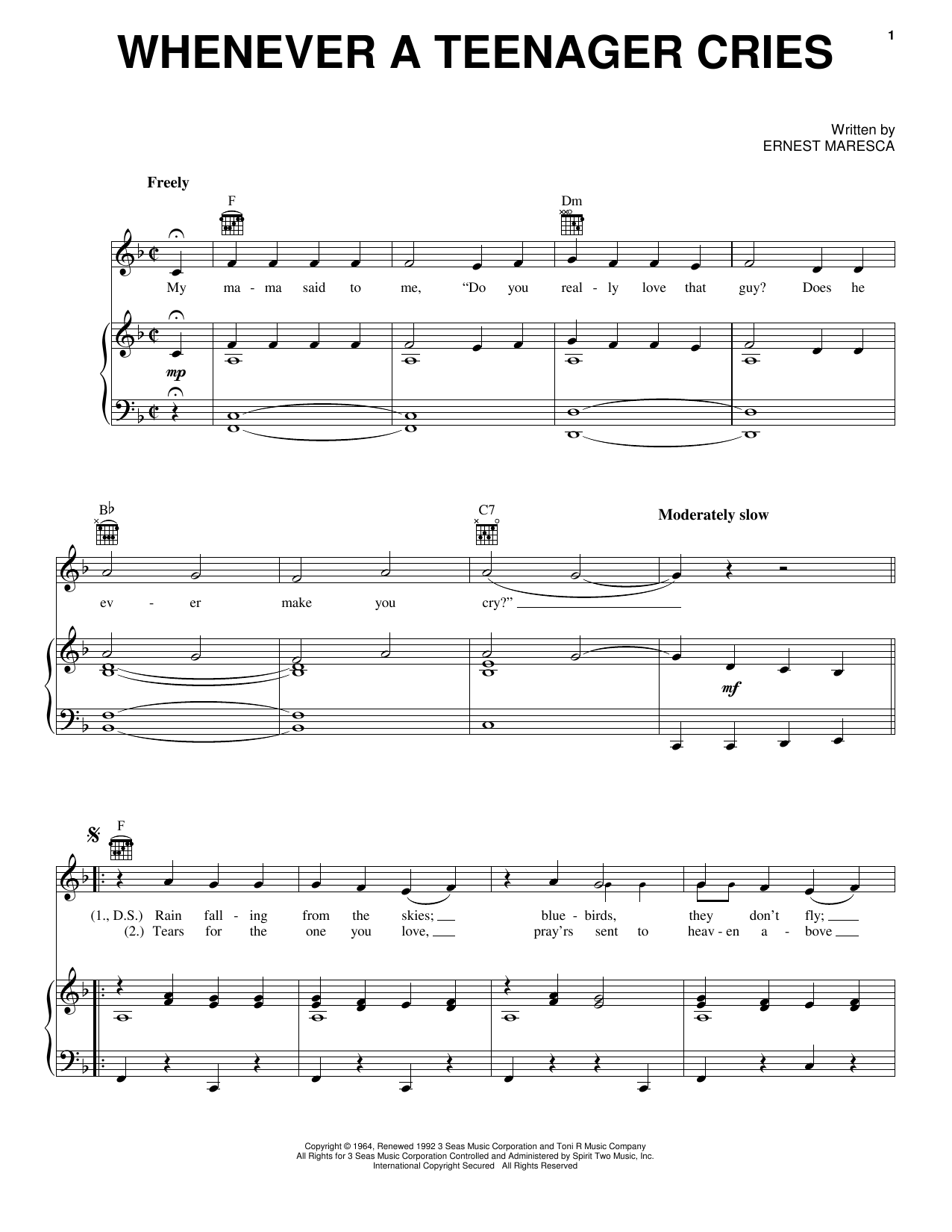 Reparata & The Delrons Whenever A Teenager Cries sheet music notes and chords. Download Printable PDF.