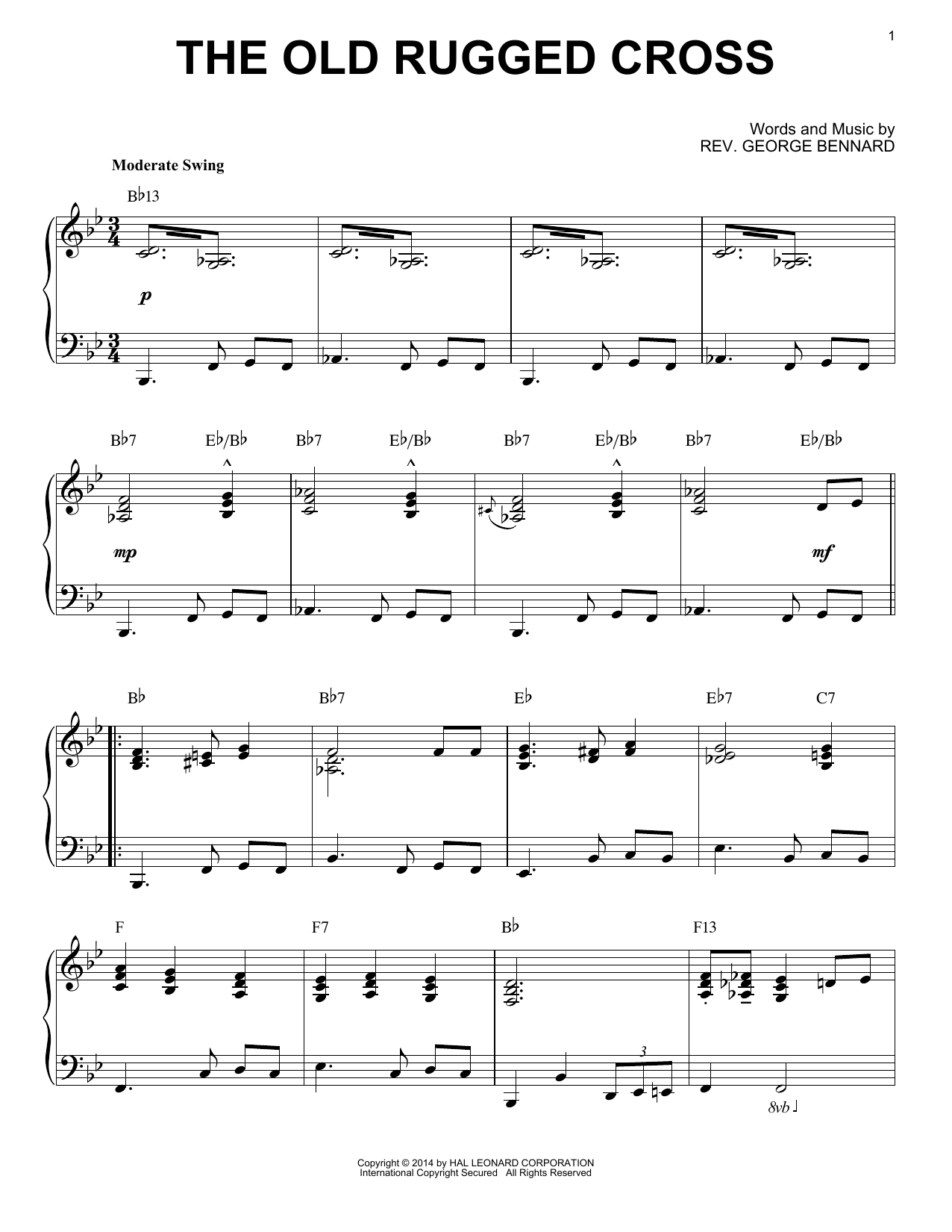 Rev. George Bennard The Old Rugged Cross [Jazz version] (arr. Brent Edstrom) sheet music notes and chords. Download Printable PDF.