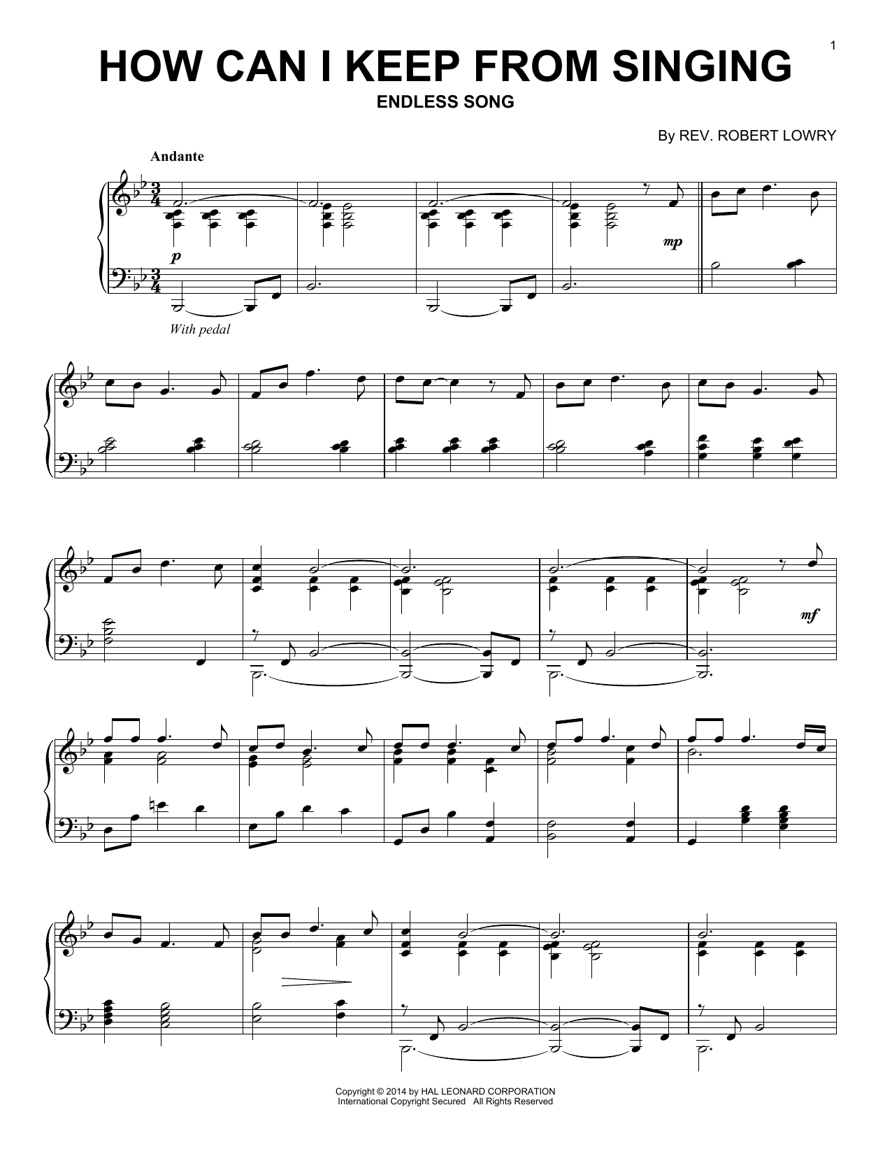 Rev. Robert Lowry How Can I Keep From Singing sheet music notes and chords