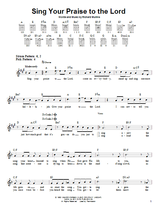 Rich Mullins Sing Your Praise To The Lord sheet music notes and chords. Download Printable PDF.