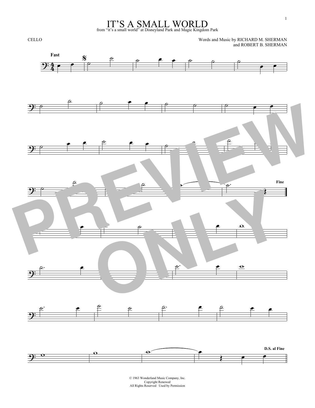 Richard & Robert Sherman It's A Small World sheet music notes and chords
