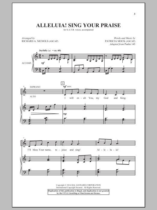 Richard A. Nichols Alleluia! Sing Your Praise sheet music notes and chords. Download Printable PDF.