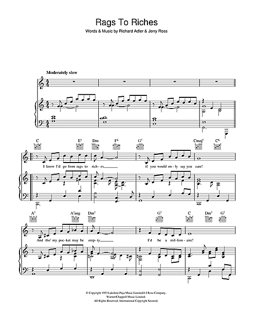 Richard Adler Rags To Riches sheet music notes and chords. Download Printable PDF.