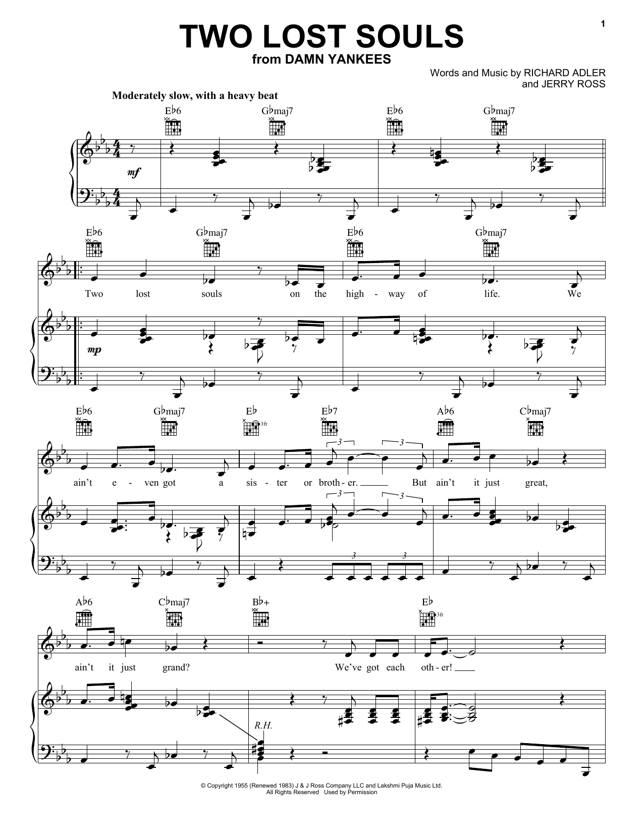 Richard Adler Two Lost Souls sheet music notes and chords. Download Printable PDF.