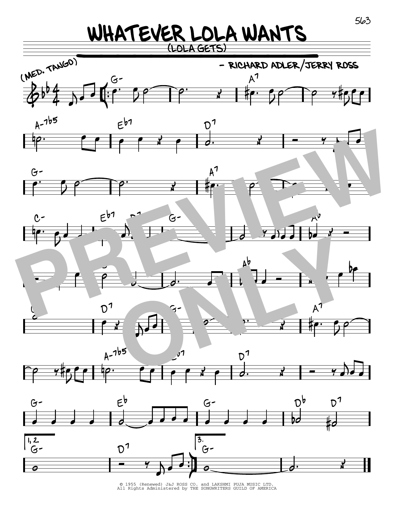 Richard Adler and Jerry Ross Whatever Lola Wants (Lola Gets) sheet music notes and chords. Download Printable PDF.