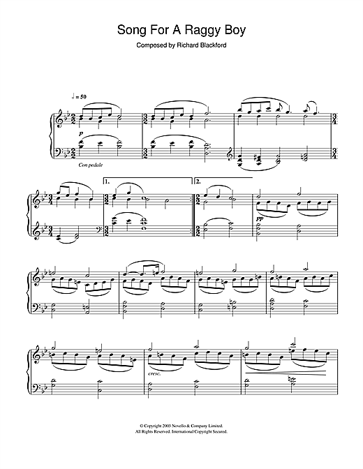 Richard Blackford Song For A Raggy Boy sheet music notes and chords. Download Printable PDF.