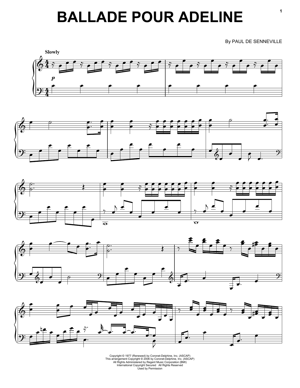 Richard Clayderman Ballade Pour Adeline sheet music notes and chords