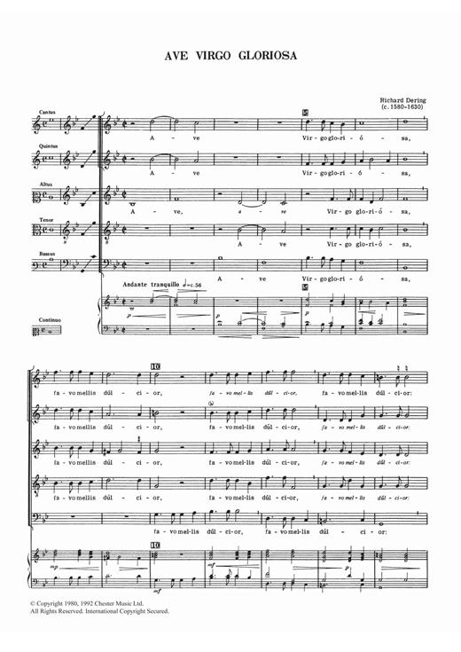 Richard Dering Ave Virgo Gloriosa sheet music notes and chords. Download Printable PDF.