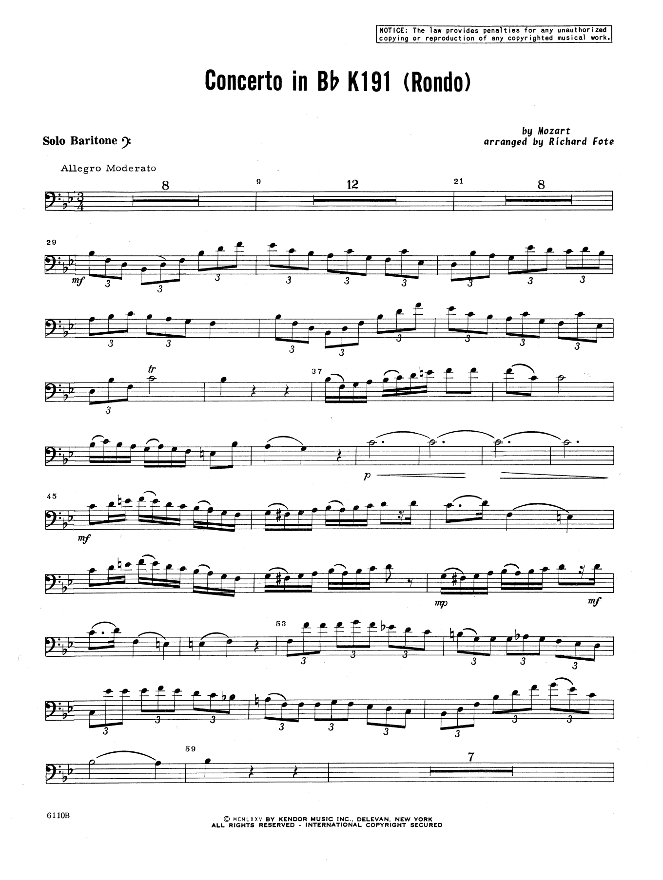 Richard Fote Concerto In Bb K191 (Rondo) - Baritone B.C. sheet music notes and chords. Download Printable PDF.