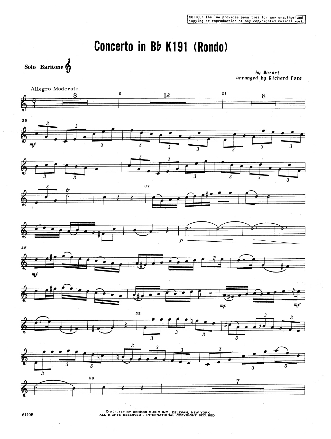 Richard Fote Concerto In Bb K191 (Rondo) - Baritone T.C. sheet music notes and chords. Download Printable PDF.