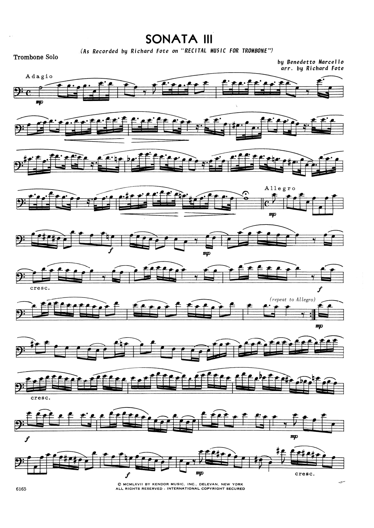 Richard Fote Sonata Iii - Trombone sheet music notes and chords. Download Printable PDF.